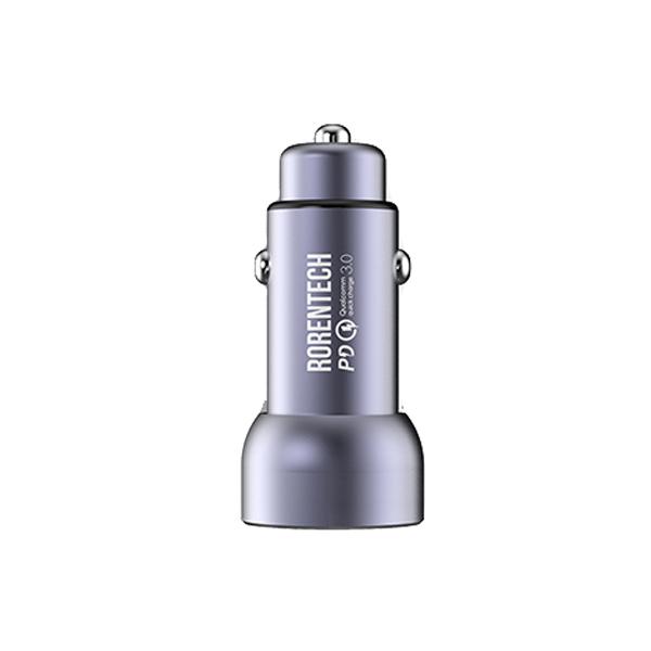 로랜텍 차량용 고속충전기 USB퀄컴 3.0 PD급속 듀얼포트, GRT-912, 메탈실버