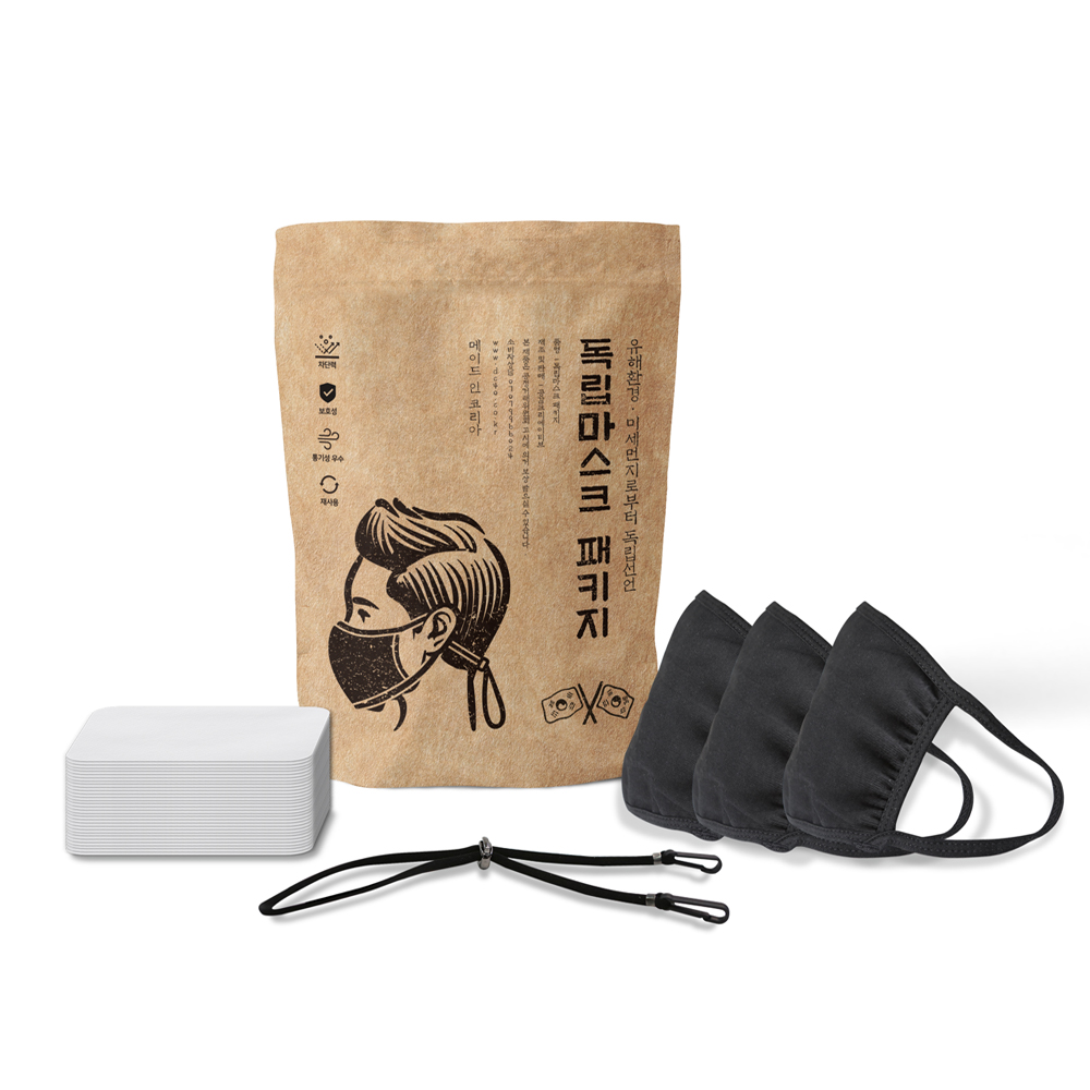 독립면 마스크 블랙 XL 3p + 부직포 필터 30p + 안아파 밴드 세트, 1세트