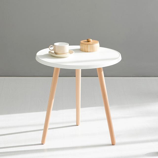 마켓비 GRUET 원형 사이드 테이블 48cm, 화이트