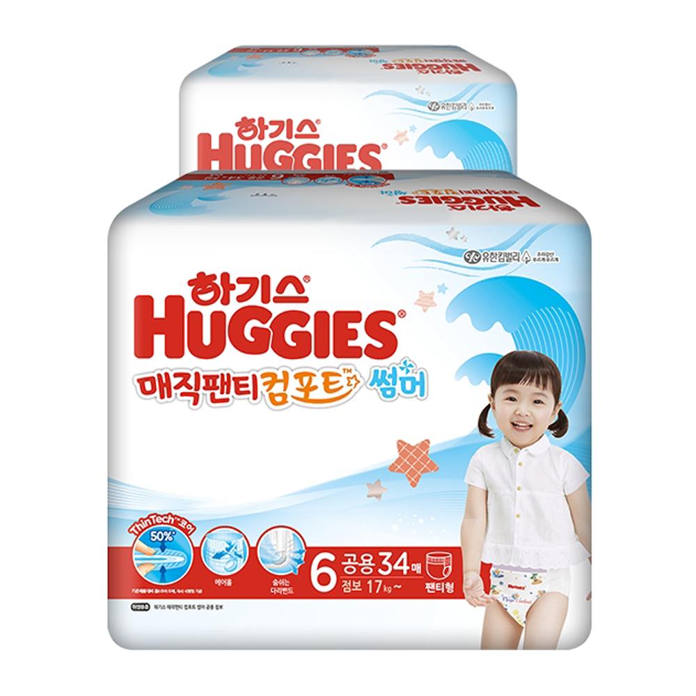 하기스 매직팬티 컴포트 썸머 팬티형 기저귀 점보형 6단계(17kg~), 68매