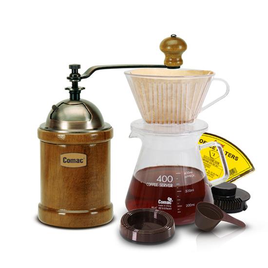 코맥 커피 핸드드립 세트 400ml DN1 + 이중날 커피밀 엔틱 원통 M1, 혼합색상, 1세트