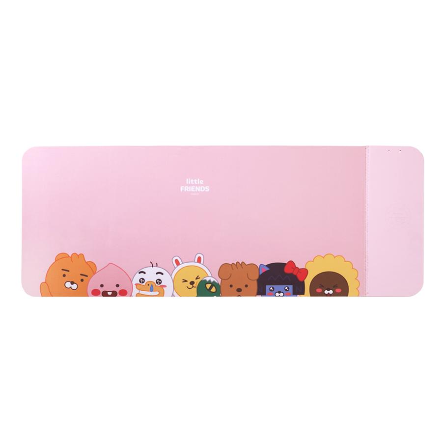 카카오프렌즈 리틀 고속 무선 충전 와이드 데스크 장패드, 1개, 핑크