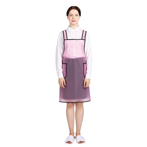 웰프런 우레탄 방수앞치마 검정파이핑 소, 반투명 핑크, 1개