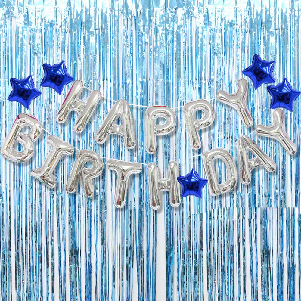 파티공구 생일 별 홀로그램 커튼 세트, 실버, 블루, 1세트