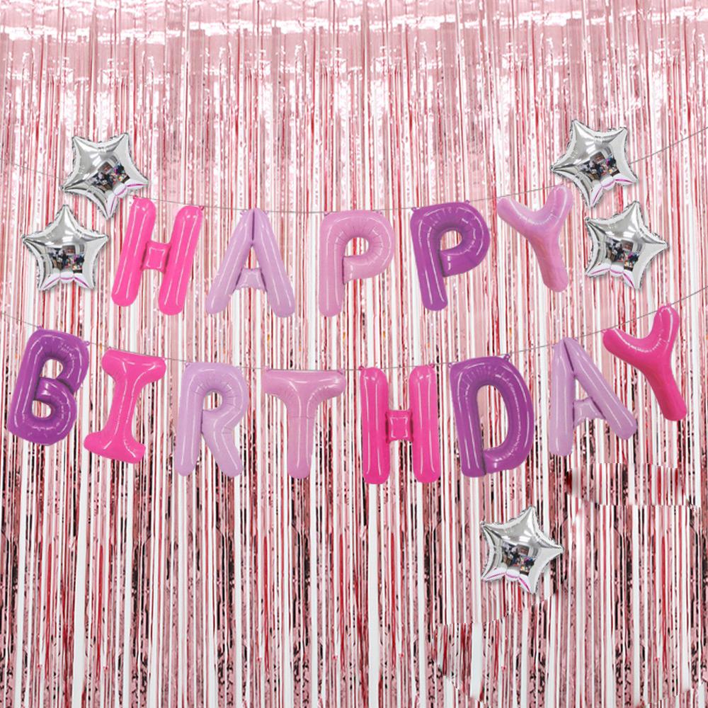 파티공구 생일 별 홀로그램 커튼 세트, 퍼플, 로즈골드, 1세트