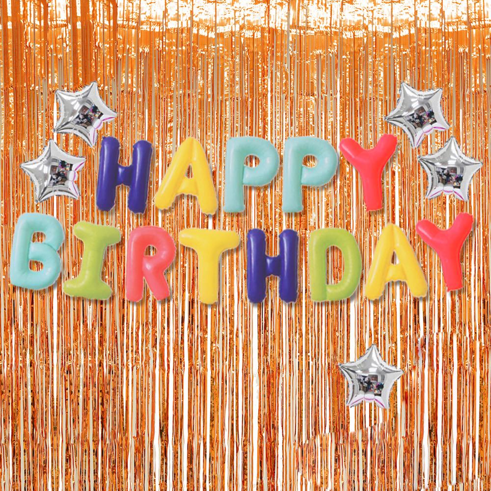 파티공구 생일 별 홀로그램 커튼 세트, 무지개, 오렌지, 1세트