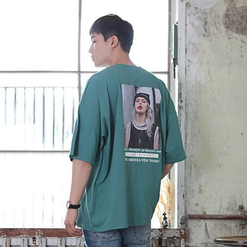 빅사이즈클럽 남성용 CRAMP 뉴욕 오버핏 반팔 티셔츠