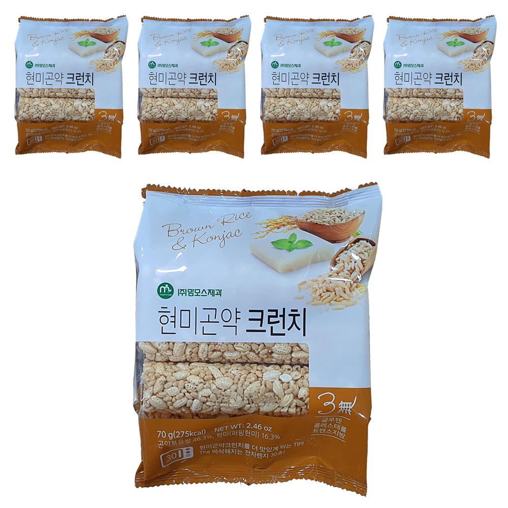 맘모스제과 현미 곤약 크런치 쌀과자, 70g, 5개