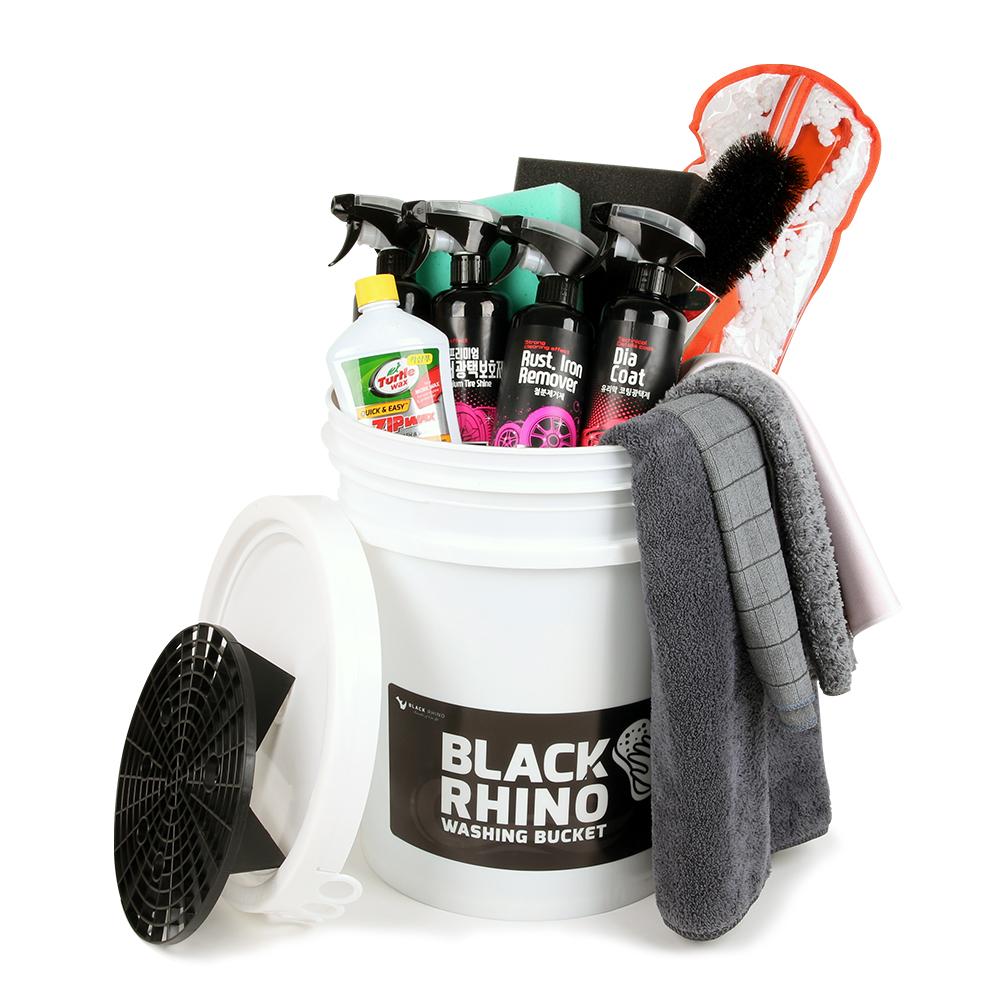 블랙라이노 셀프 세차 버킷 기본 + 철분 + 내장 + 광택 선물 세트, 1세트