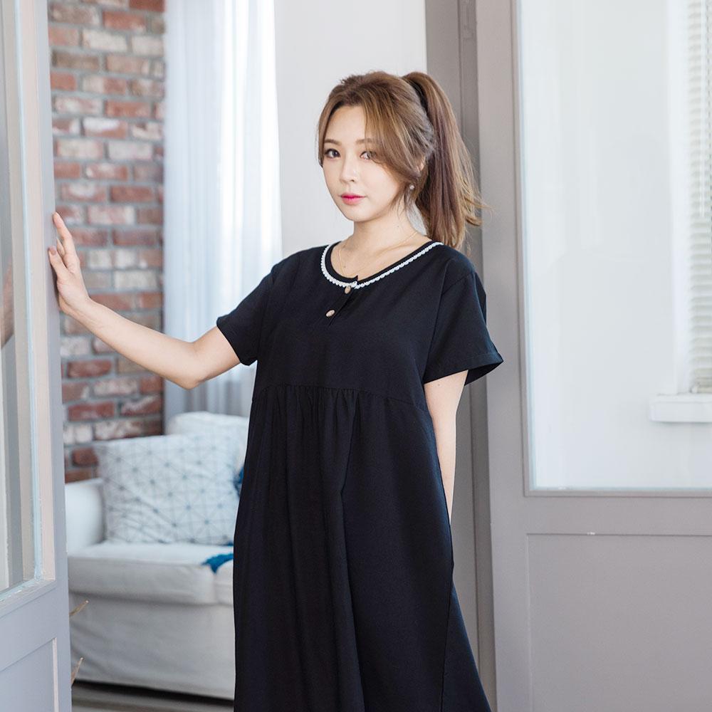 도씨 여성용 자연인견 반팔 잠옷 원피스