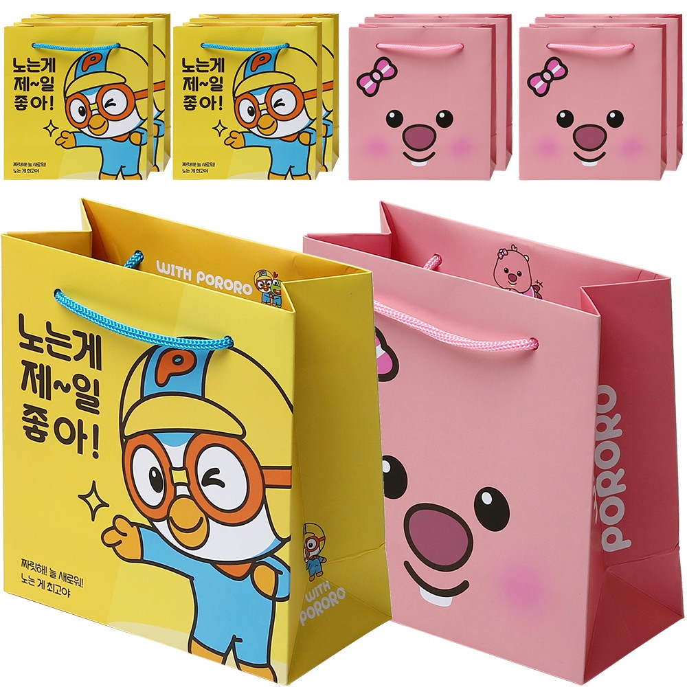 포포팬시 위드 뽀로로 쪼꼬미 쇼핑백 10p, 옐로우, 핑크