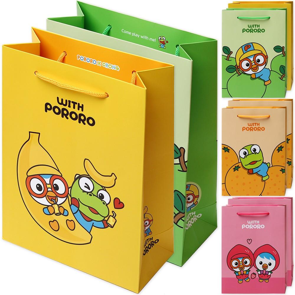 포포팬시 위드 뽀로로 후르츠 쇼핑백 8p, 옐로우, 그린, 오렌지, 핑크