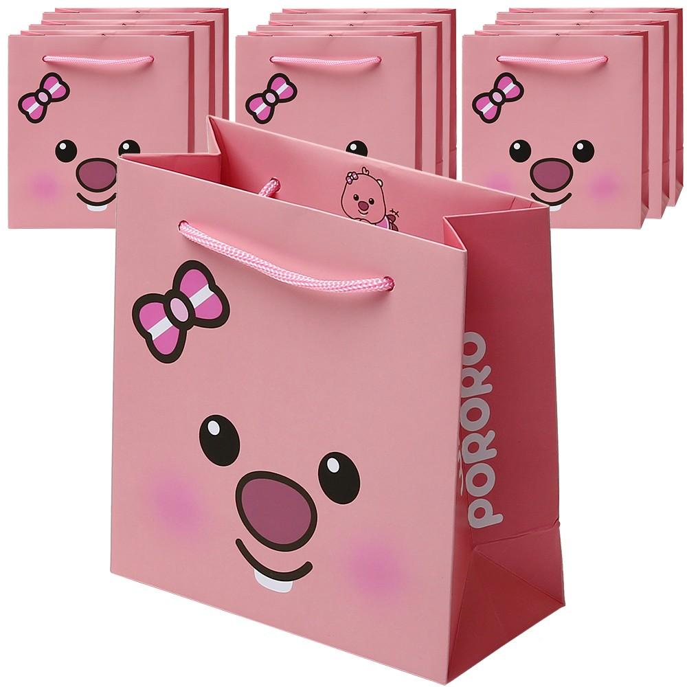 포포팬시 위드 뽀로로 쪼꼬미 쇼핑백 10p, 핑크