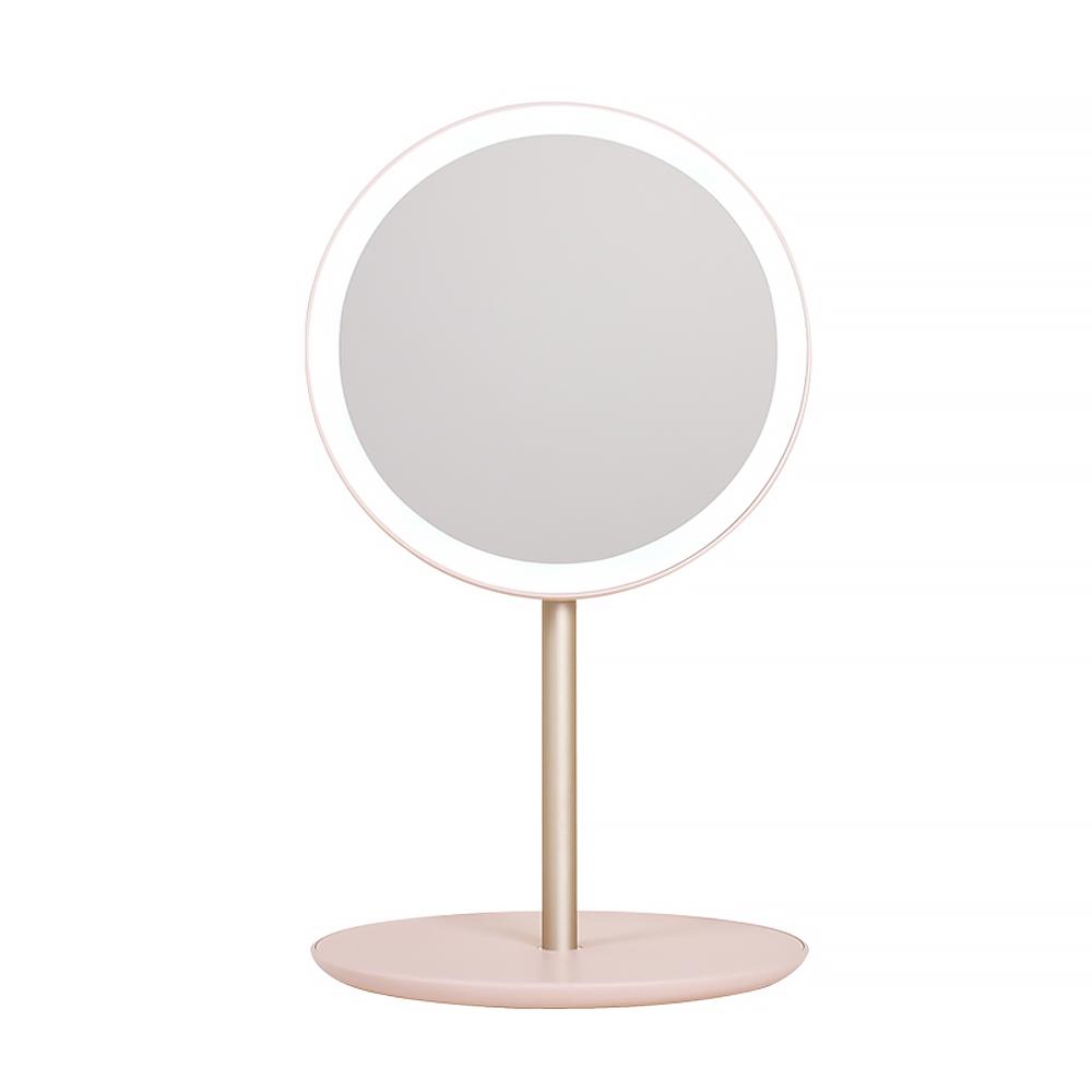 MORUN 5초 완성 LED 뷰티 탁상거울, 베이비핑크