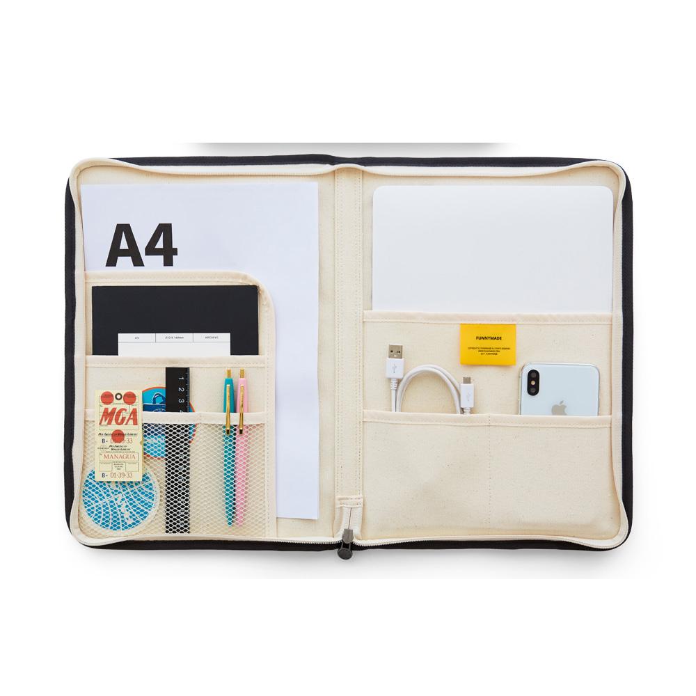 퍼니메이드 파일 오거나이저 A4 태블릿 파우치, 차콜, 1개