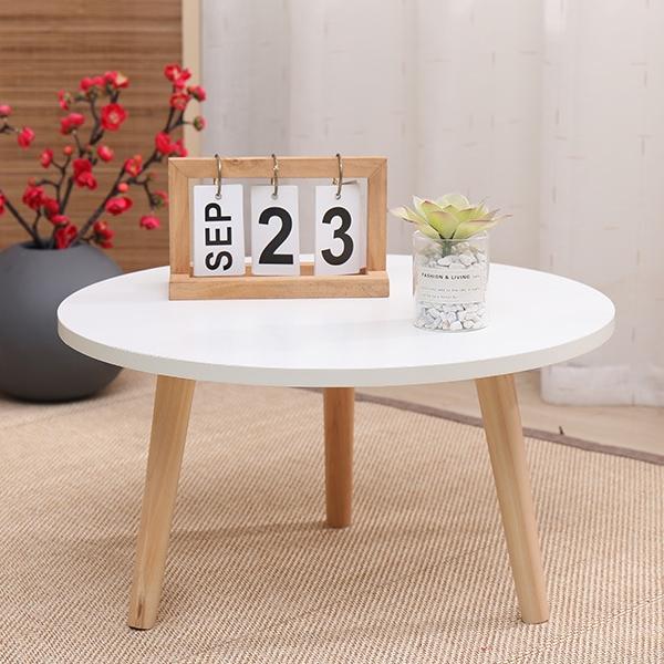 따니네 미니 테이블 미니책상 원형 ZZ001 50 x 50 x 30 cm, 화이트