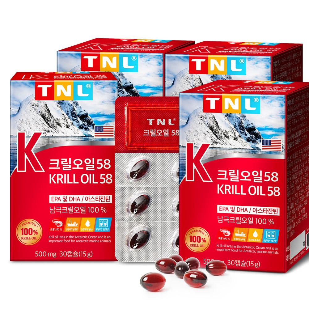 TNL 크릴오일58, 30정, 4개