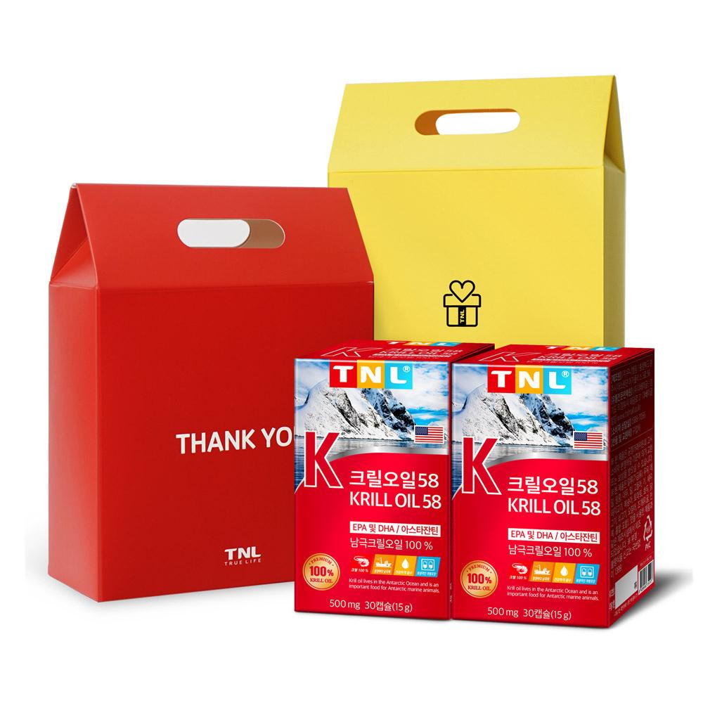 TNL 크릴오일58 + 선물박스 랜덤 발송, 30정, 2개