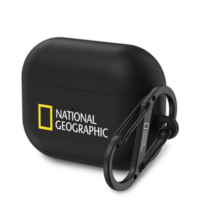 내셔널지오그래픽 에어팟 프로 이어폰 카라비너 하드 케이스, 블랙