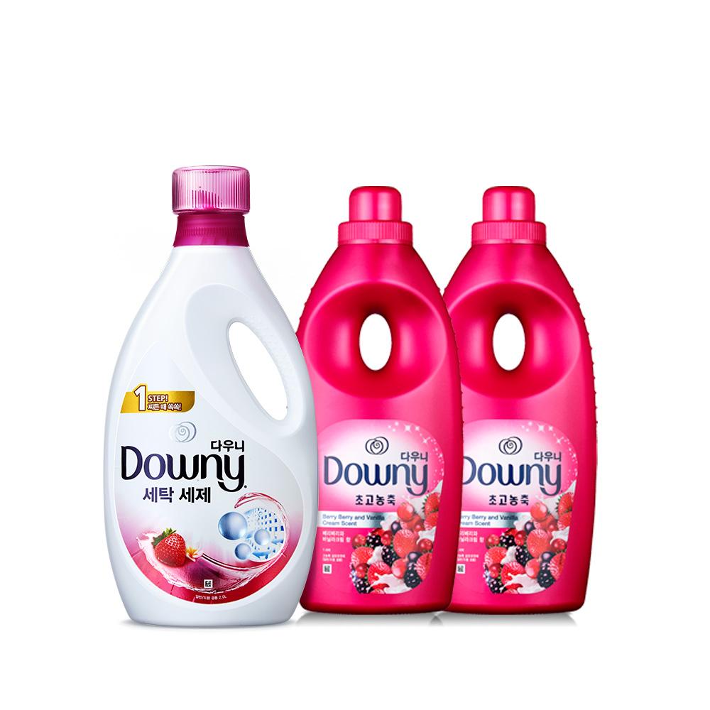 다우니 핑크 세탁세제 2.8L + 섬유유연제 1L x 2p 세트, 1세트