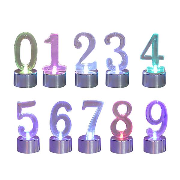 와우파티코리아 LED 숫자 초 파티소품 10종, 실버, 1세트