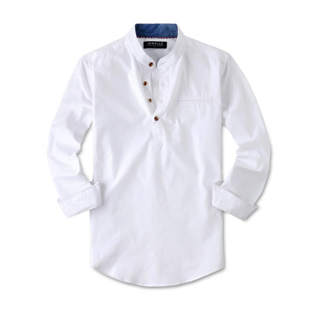제이앤몰스 남성용 스판 헨리넥 긴팔 셔츠