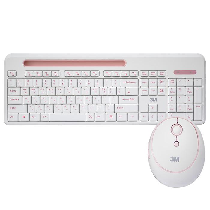 쓰리엠 스마트폰거치 무소음 무선키보드마우스세트, MK350, 핑크