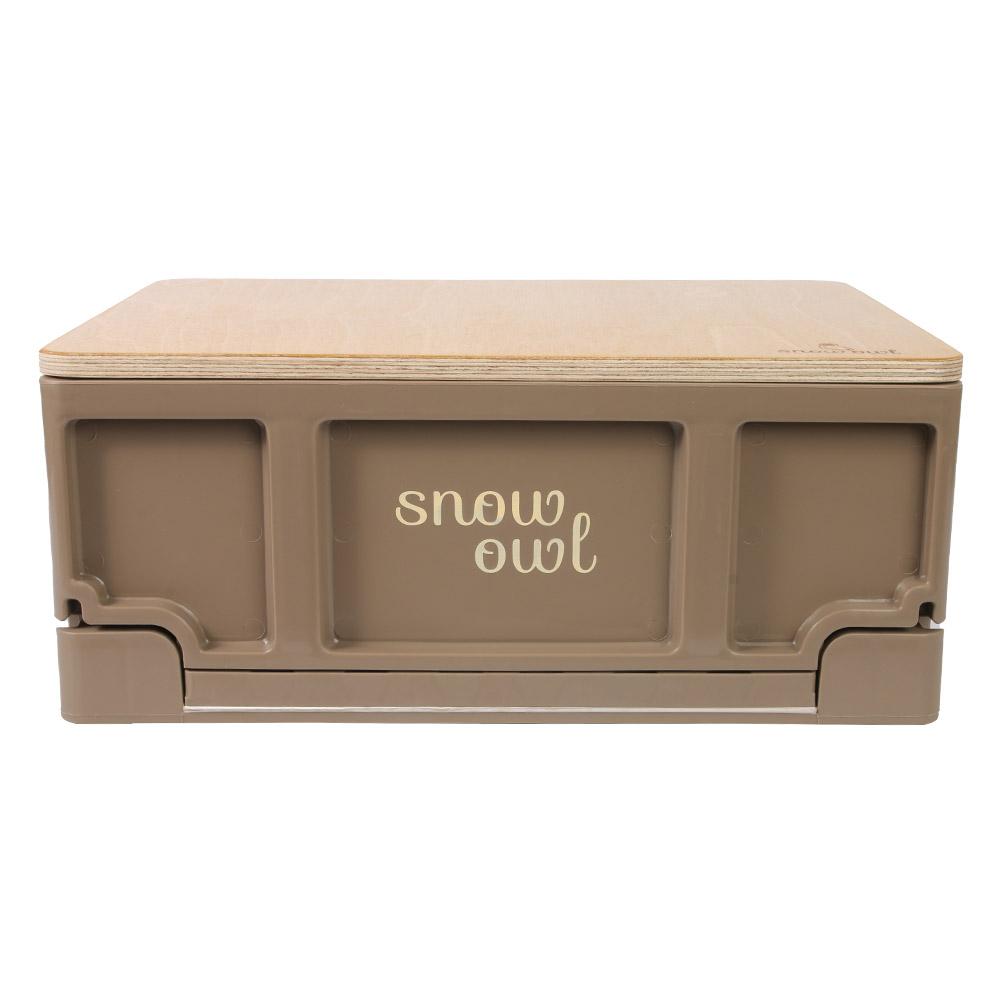 스노우아울 유틸리티 미니 폴딩박스 + 우드상판 사이드 테이블 세트, 초코(폴딩박스), 우드(상판)