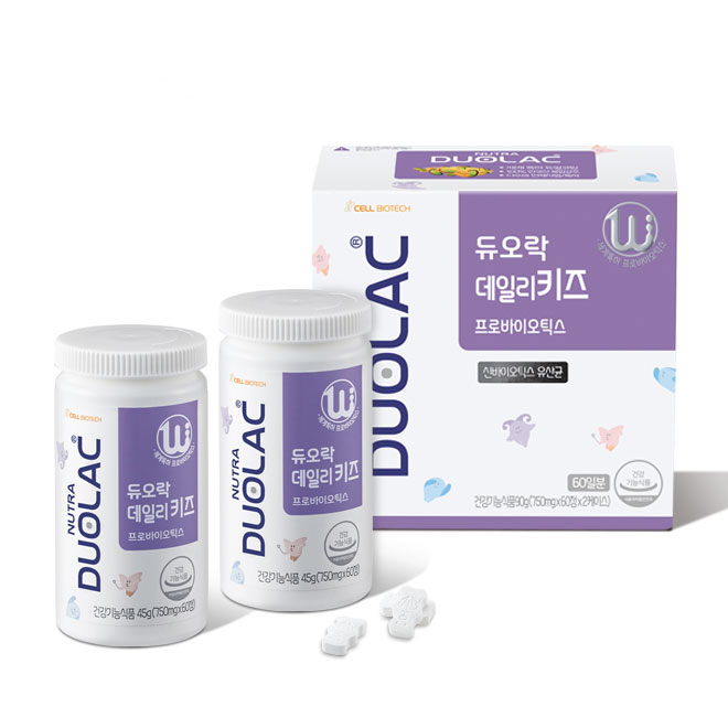 듀오락 데일리키즈 신바이오틱스 유아 유산균 영양제, 60정, 2개