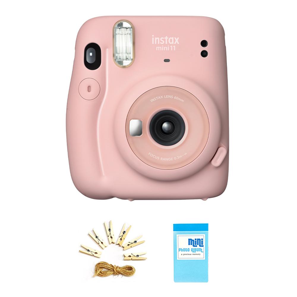 인스탁스 미니11 즉석카메라 M11 + 포토라인 + 집게 6p + 1단 미니앨범 세트, M11(블러쉬핑크), 1세트