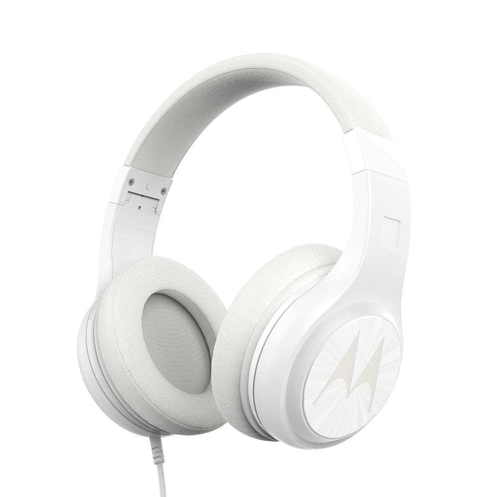 모토로라 펄스 120 유선 접이식 헤드폰, 화이트, Pulse120
