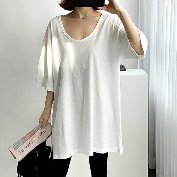 [여성 u넥 티셔츠] 티탁 여성용 트임 유넥티 - 랭킹5위 (9810원)