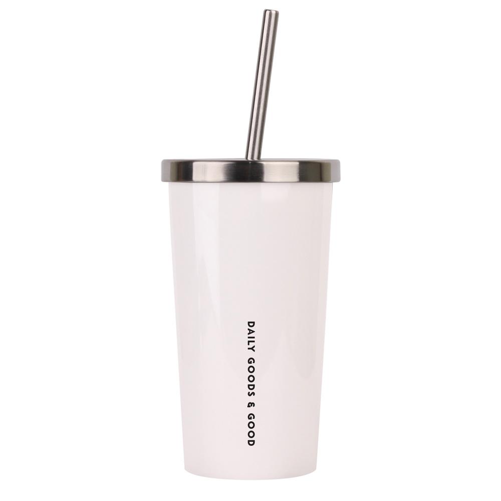 디지지 에버리 스테인레스 빨대형 냉온 텀블러, 화이트, 450ml