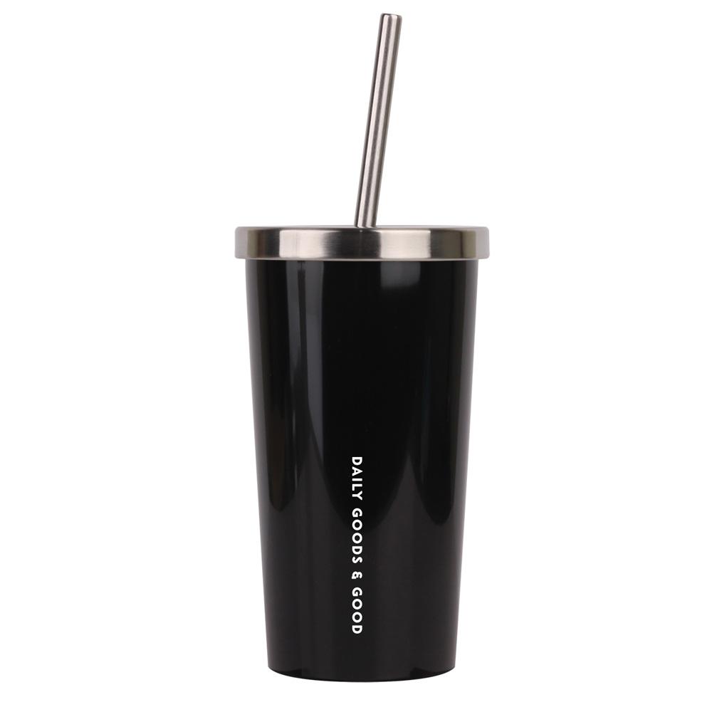 디지지 에버리 스테인레스 빨대형 냉온 텀블러, 블랙, 450ml