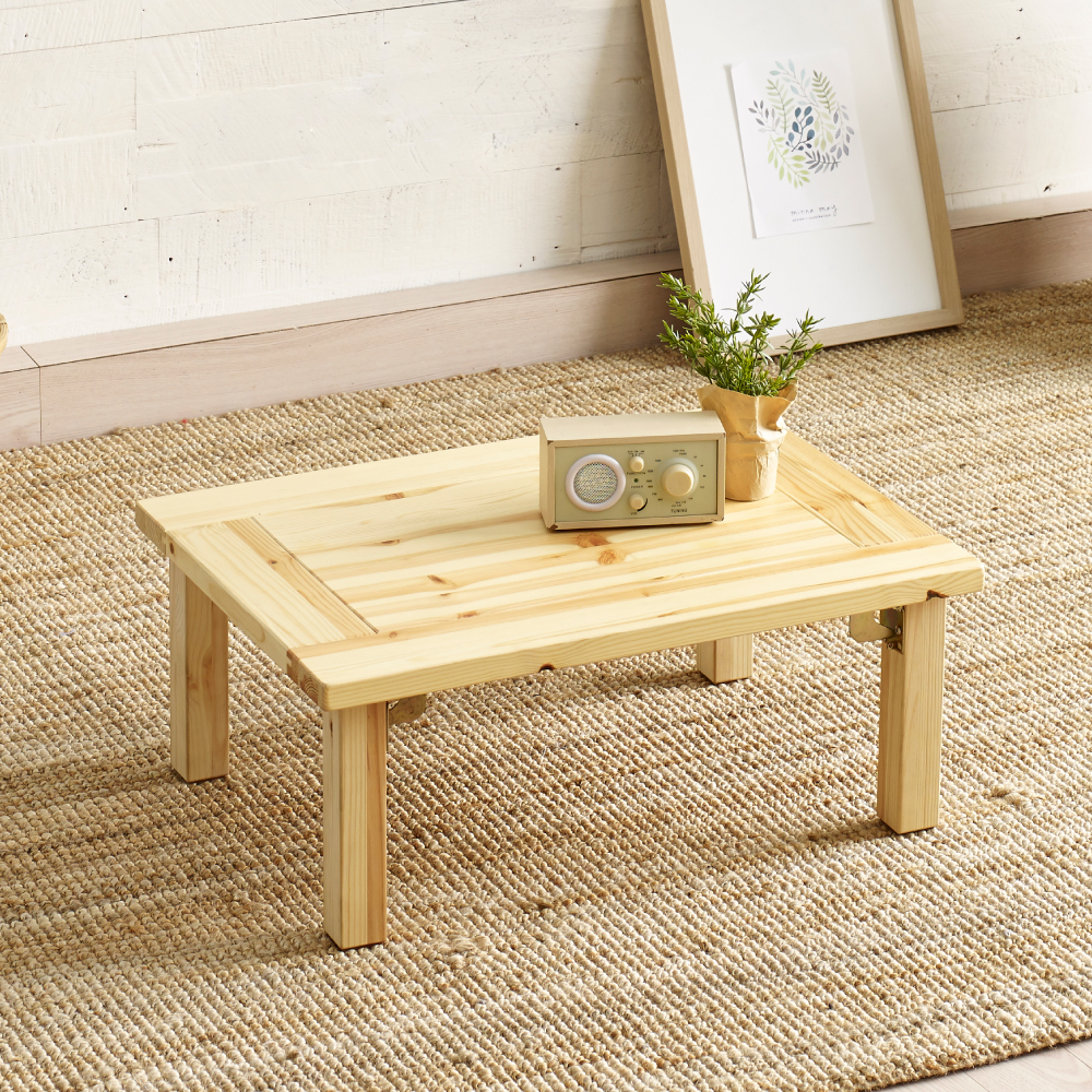 조은세상 편백나무 원목 강철 테이블 600 x 450 mm, 내추럴