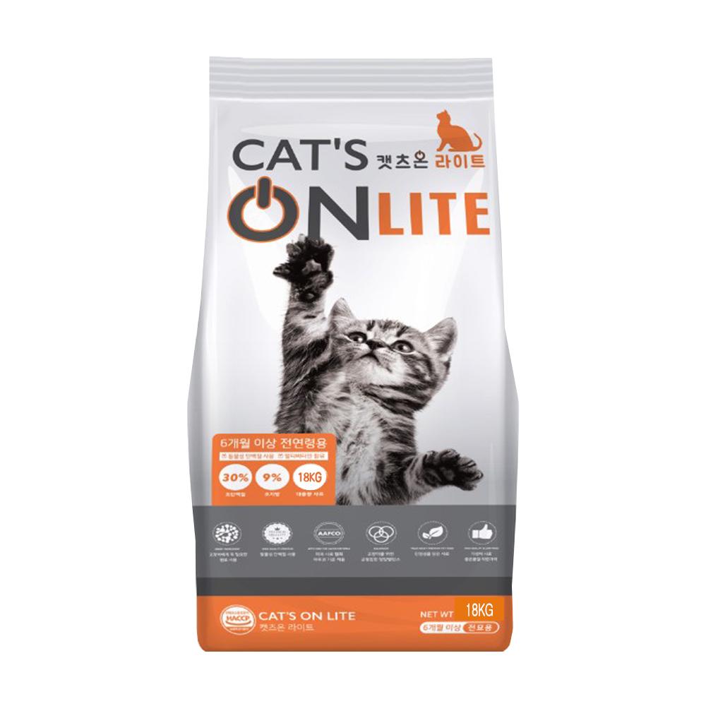 캣츠온 6개월 이상 전연령용 라이트 고양이 건식 사료, 조단백, 18kg