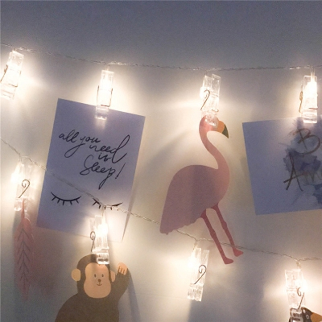 팝바나나 사진 걸이 집게형 LED 가렌드 줄조명, 혼합색상