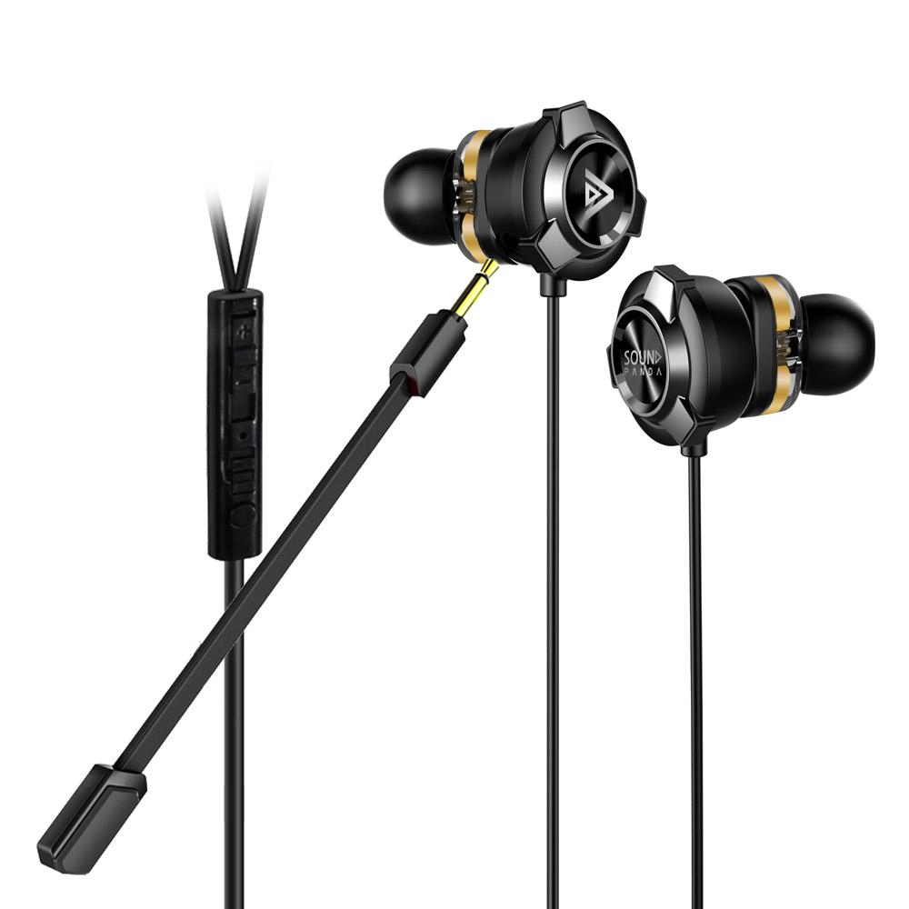 사운드판다 듀얼 드라이브 게이밍 이어폰, 블랙, SPE-G9