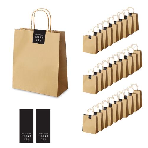 인디고 크라 쇼핑백 30p + 땡큐 직사각 라벨 30p 세트, 쇼핑백(단일색상), 라벨(블랙)
