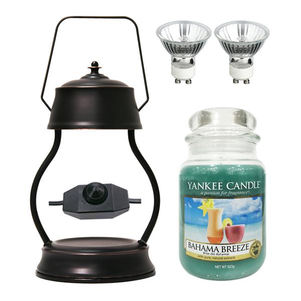스텔라 빛조절 캔들 워머 + 전구 2p + 양키캔들 라지자 세트, 워머(브론즈), 캔들(바하마브리즈)