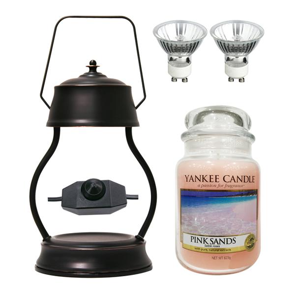 스텔라 빛조절 캔들 워머 + 전구 2p + 양키캔들 라지자 세트, 26 라지자 핑크샌즈, 문라이트(전구2) 브론즈