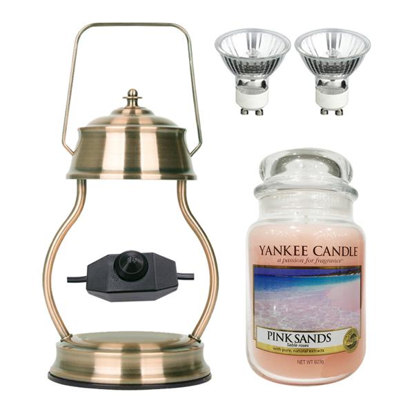 스텔라 빛조절 캔들 워머 + 전구 2p + 양키캔들 라지자 세트, 26 라지자 핑크샌즈, 문라이트(전구2) 빈티지