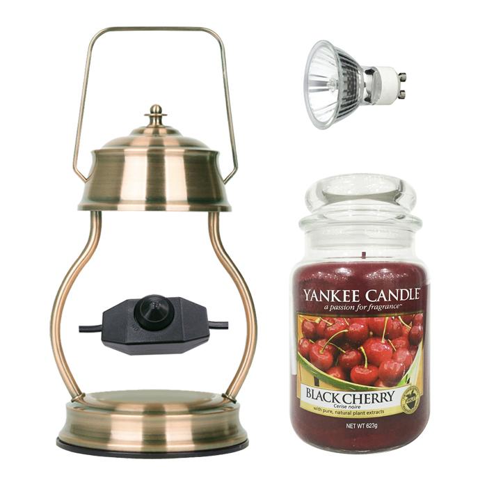 애플원 빛조절 캔들 워머 + 전구 + 양키캔들 라지자 세트, 워머(빈티지), 캔들(블랙체리)
