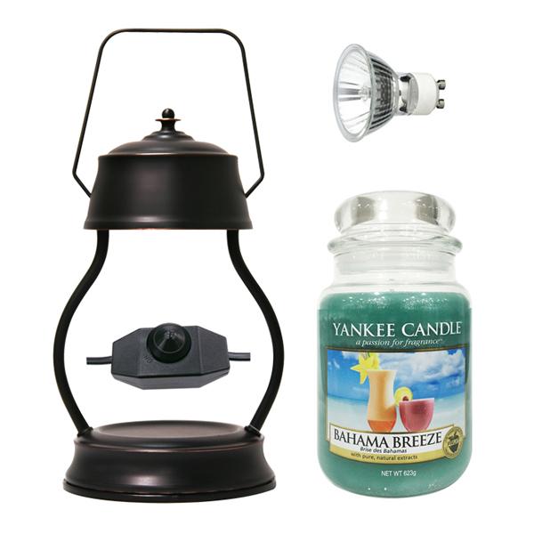 스텔라 빛조절 캔들 워머 + 전구 + 양키캔들 라지자 세트, 워머(브론즈), 캔들(바하마브리즈)