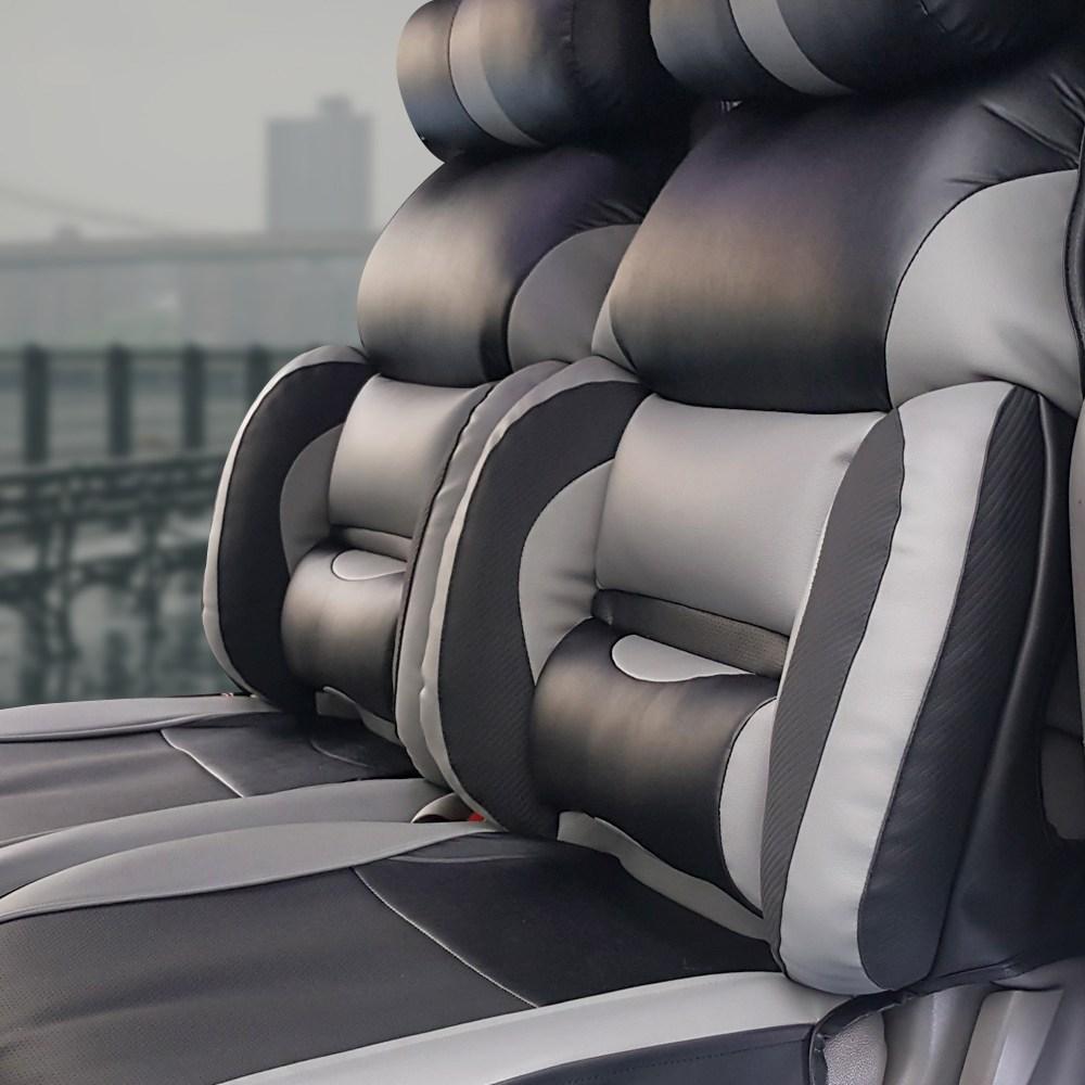 카월드 차량 운전석 전용 기능성 리무진 시트커버 + 목쿠션 세트, 1세트, 블랙 + 그레이