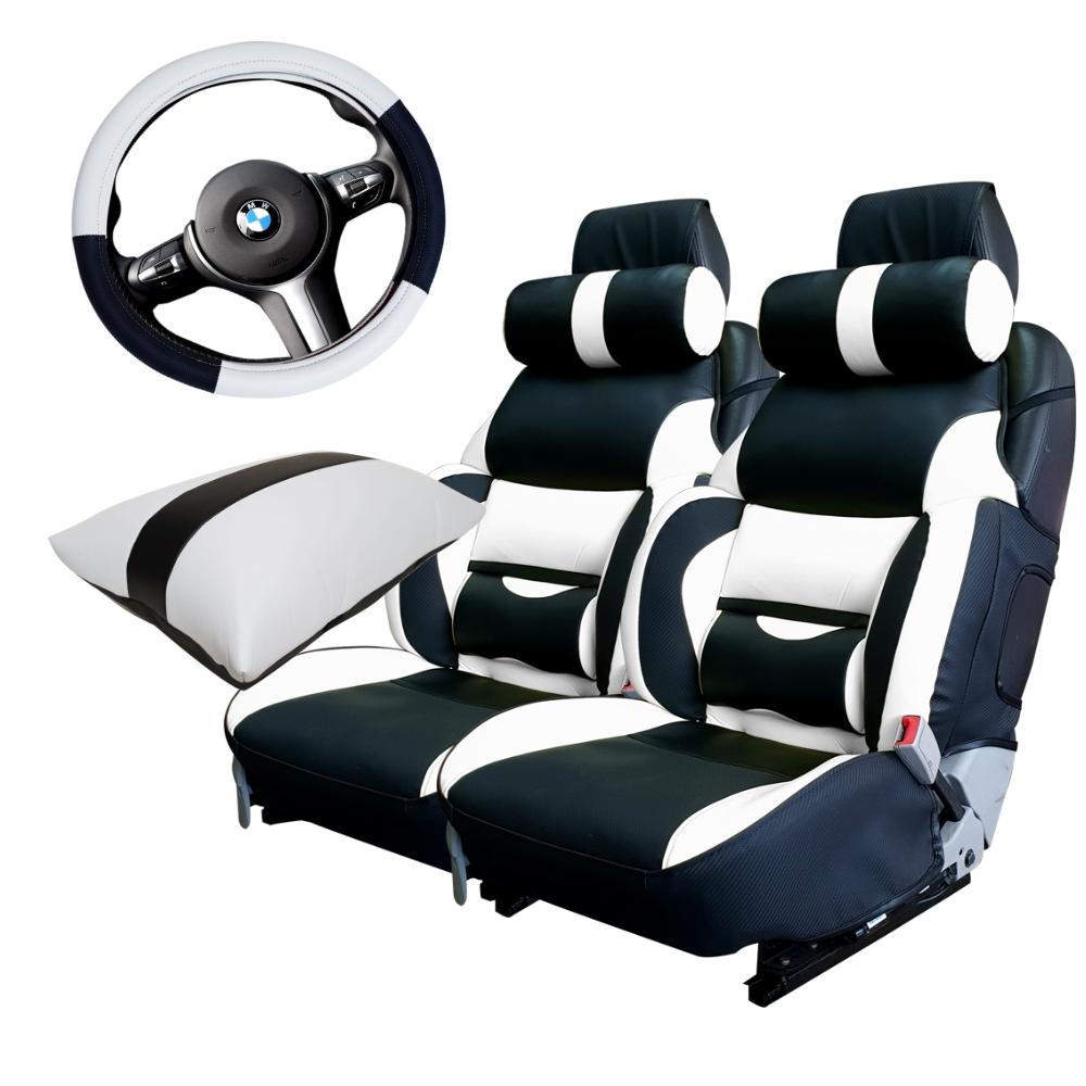 카월드 자동차 리무진 1열 시트커버 2p + 목쿠션 2p + 콘솔 팔쿠션 + 핸들커버 스마트 세트, 블랙 + 화이트, 1세트