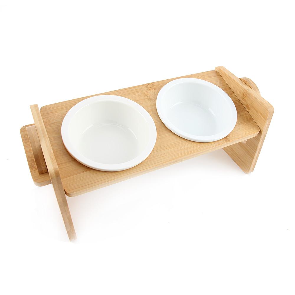 도그아이 반려동물 높이조절 대나무 식기 2구 + 도자기 그릇 2p, 1세트
