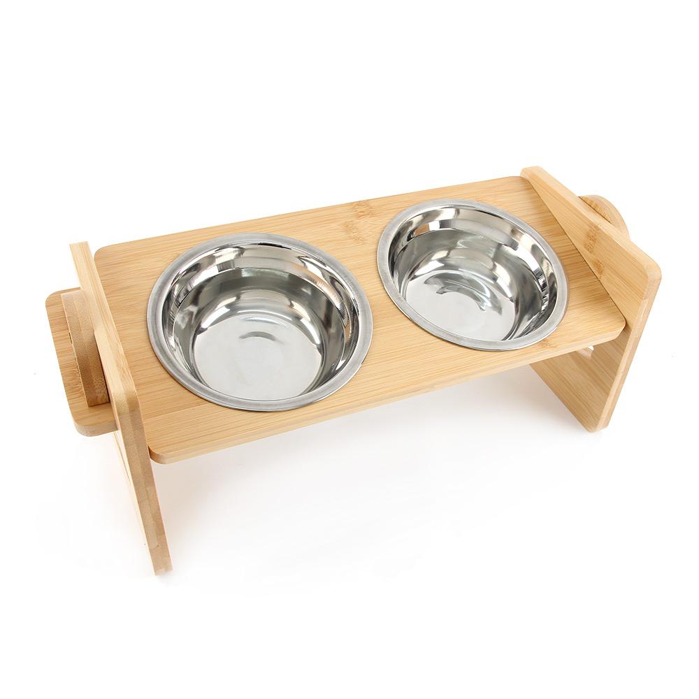 도그아이 반려동물 높이조절 대나무 식기 2구 + 스텐 그릇 2p, 1세트