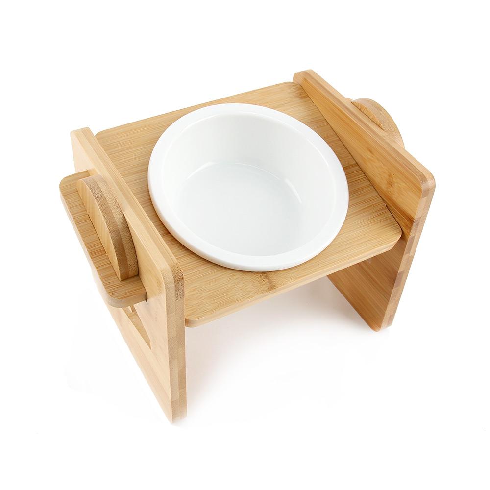 도그아이 반려동물 높이조절 대나무 식기 1구 + 도자기 그릇, 1세트