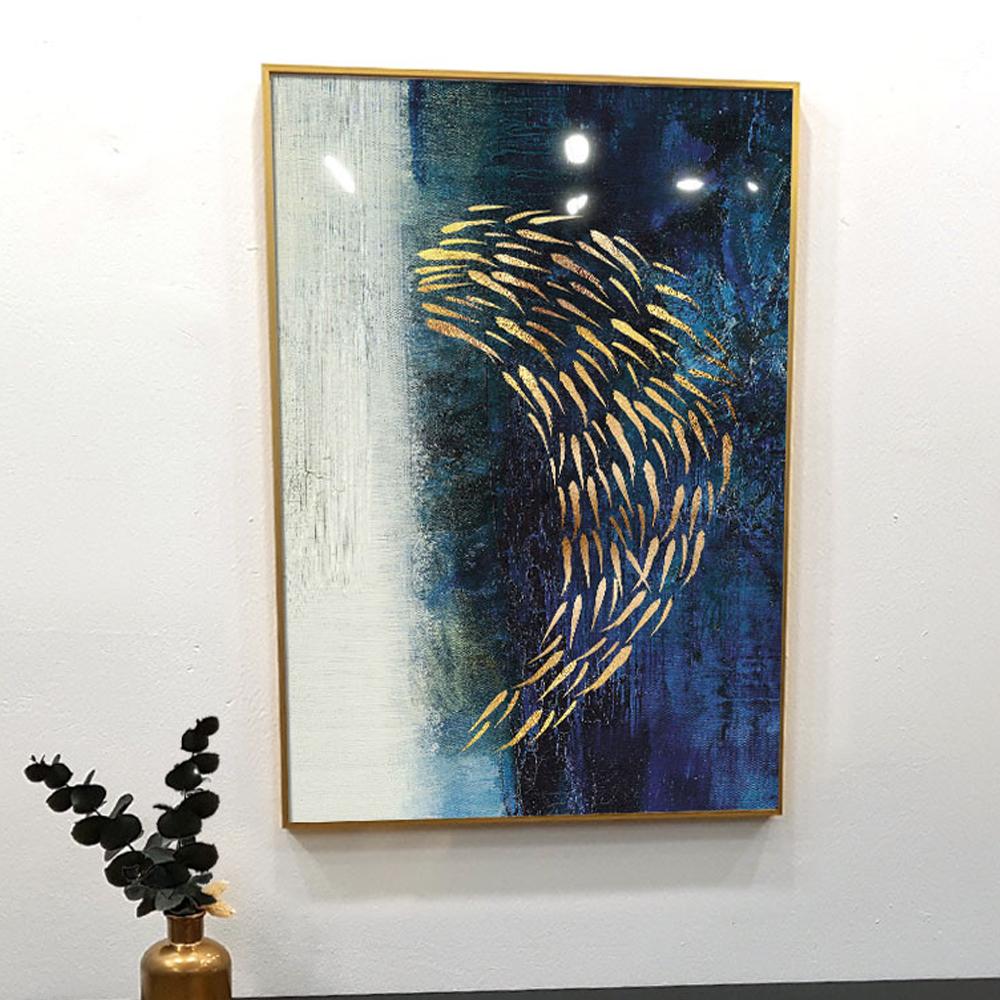 골드메탈 황금 물고기 그림액자, 골드 메탈